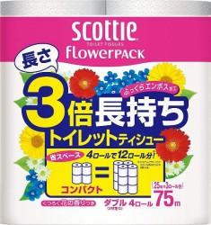 スコッティ フラワーパック 3倍長持ち 4ロール(ダブル)